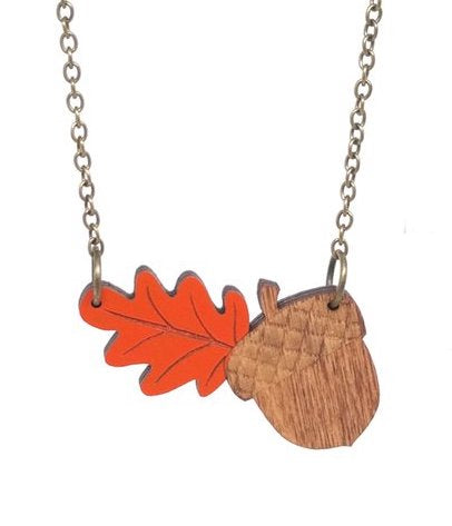 Laser Cut Acorn Necklace with Orange Leaf