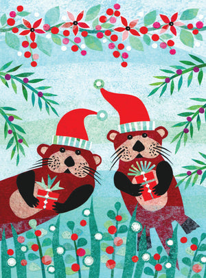 Otters in santa hats folk art christmas card