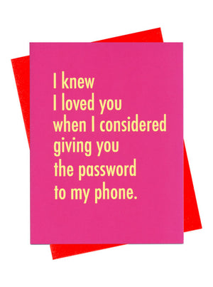 Password to My Phone Love Card