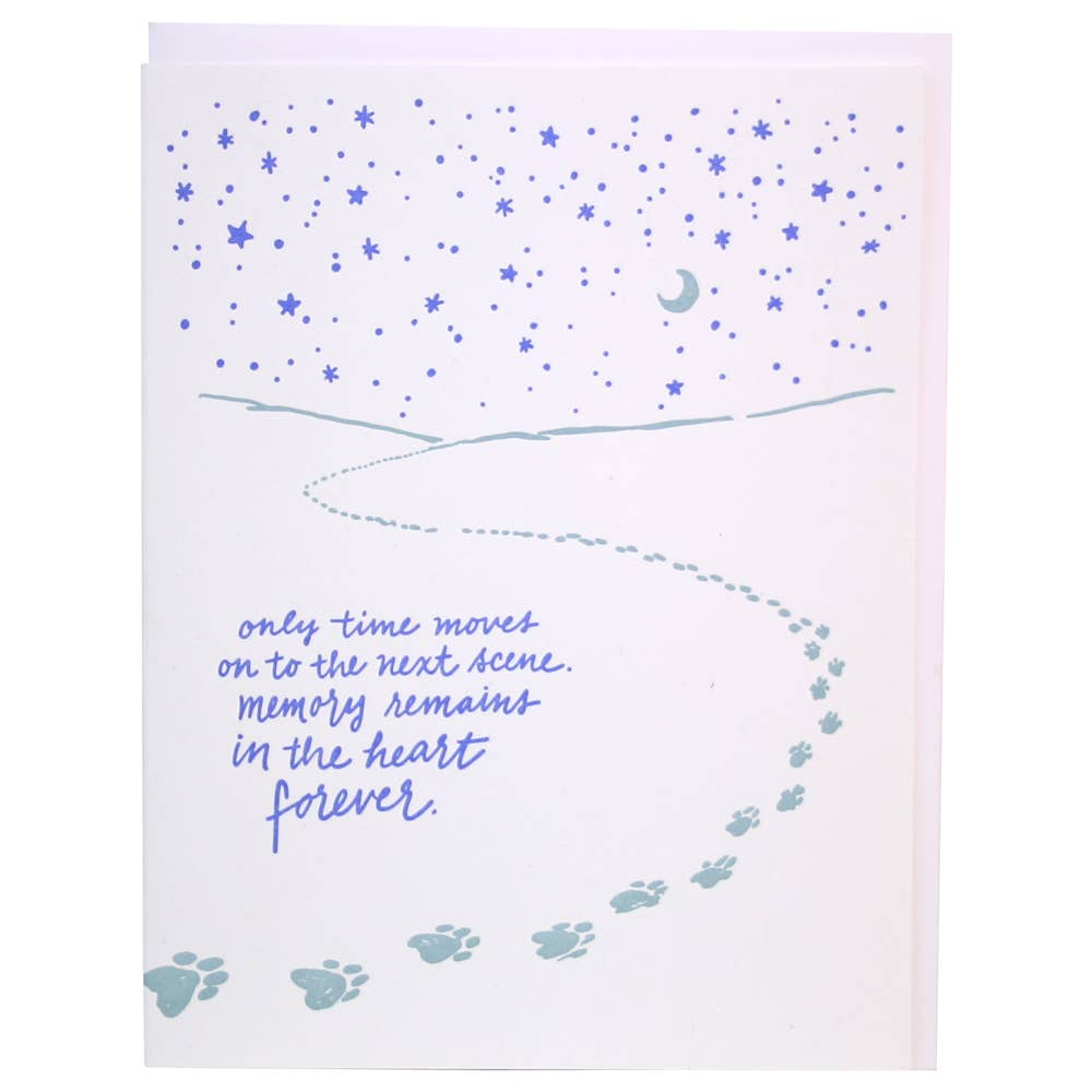 Paw Prints Under Stars Pet Sympathy Card
