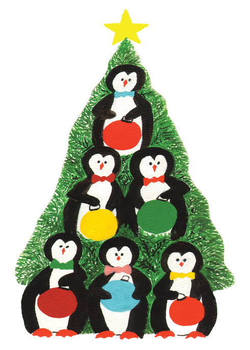 Penguin Christmas Tree Boxed Holiday Cards