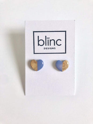 Periwinkle & Gold Leaf Heart Studs