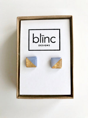 Periwinkle & Gold Leaf Square Stud Earrings