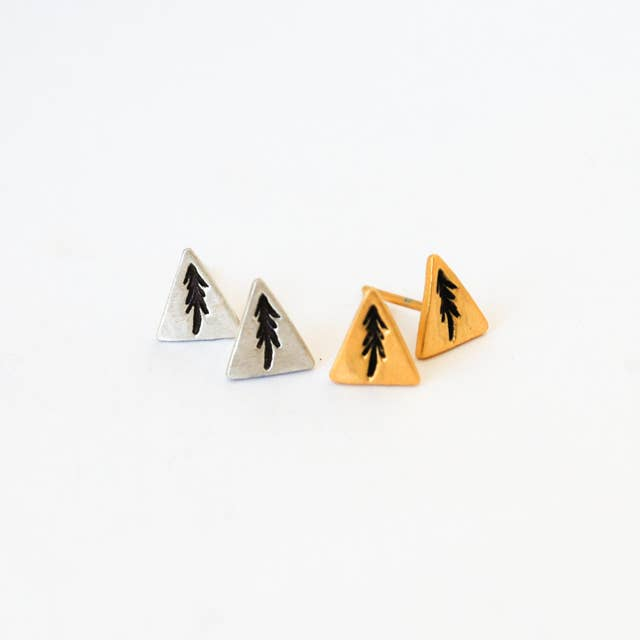 Small Triangular Studs with Oxidized Pine Trees