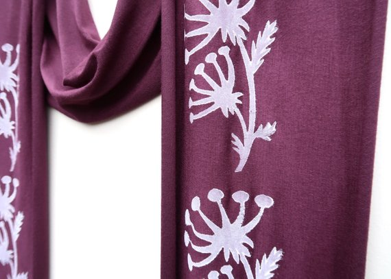 Plum and White Block Print Scarf
