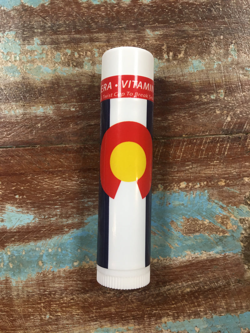 rocky mountain sunscreen melon chapstick with colorado flag label