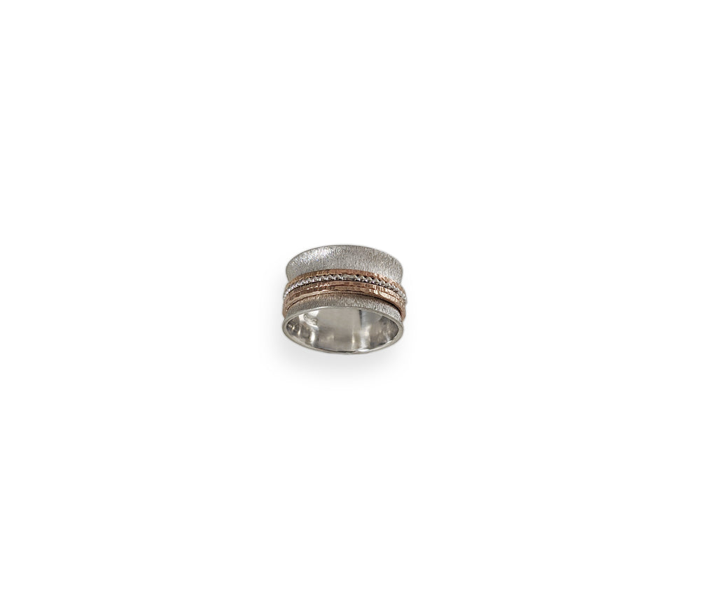 Quad Spinner Ring With Sterling Silver Shank and 4 Thinner Copper and Silver Spinning Bands
