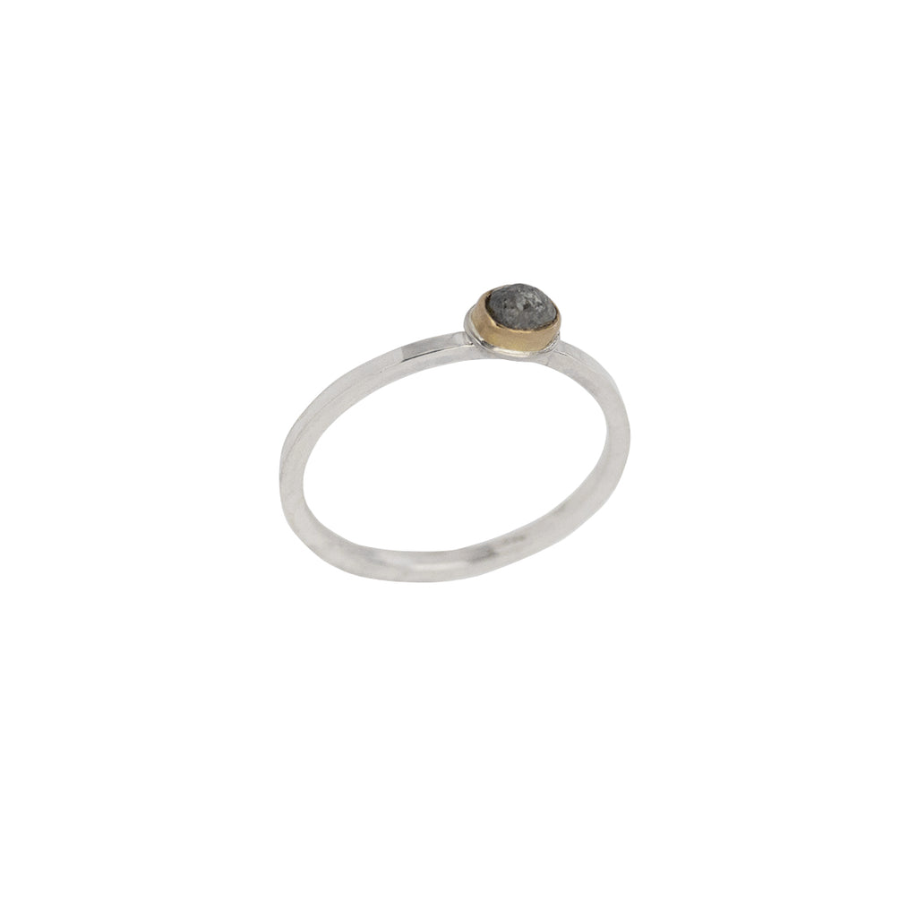 Stackable 22K Gold + Sterling Silver + Rough Diamond Ring
