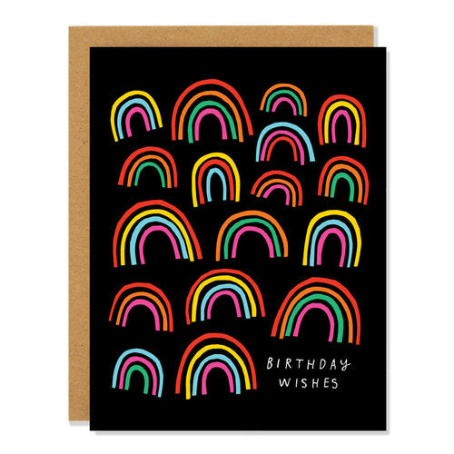 Rainbow Covered Birthday Wishes Card.