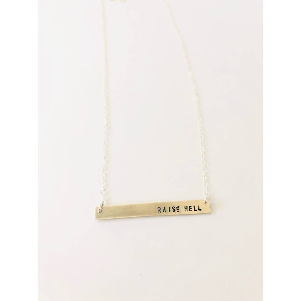 Raise Hell Stamped Bar Necklace