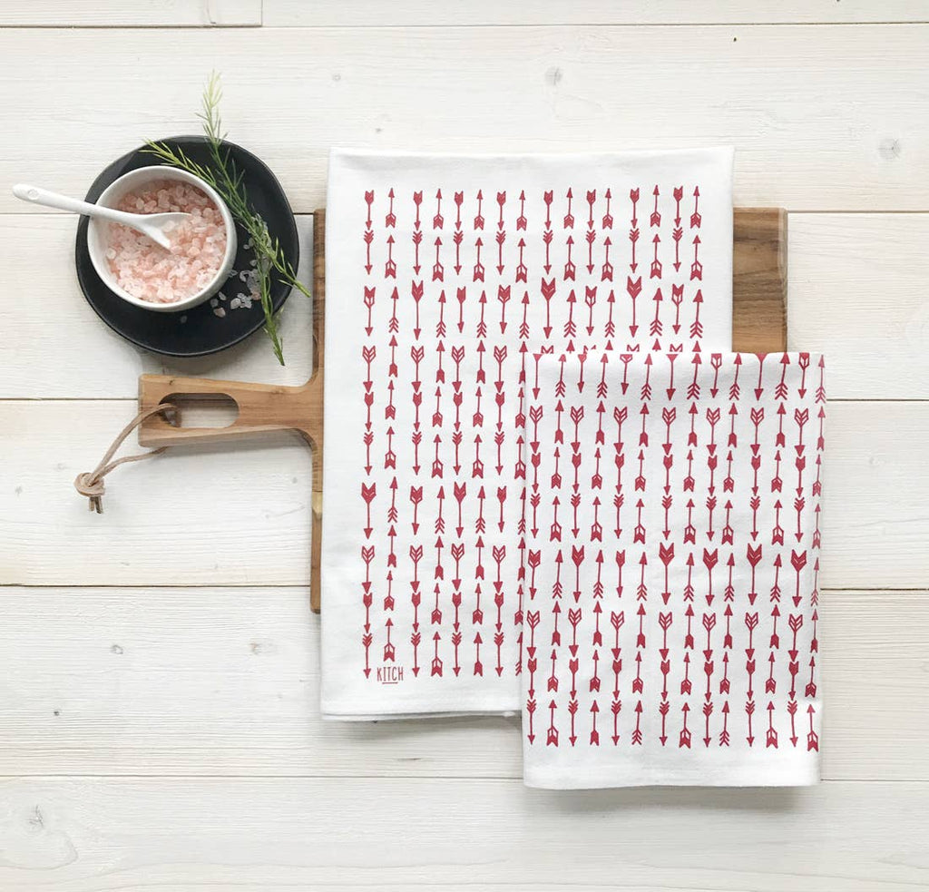 Tea Towel Set with Red Arrow Pattern