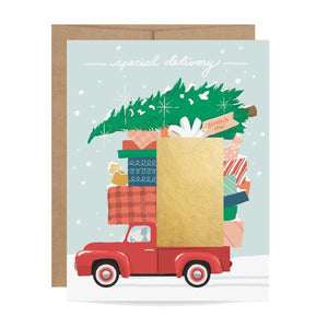 Red Truck Special Delivery Scratch Off Christmas Card