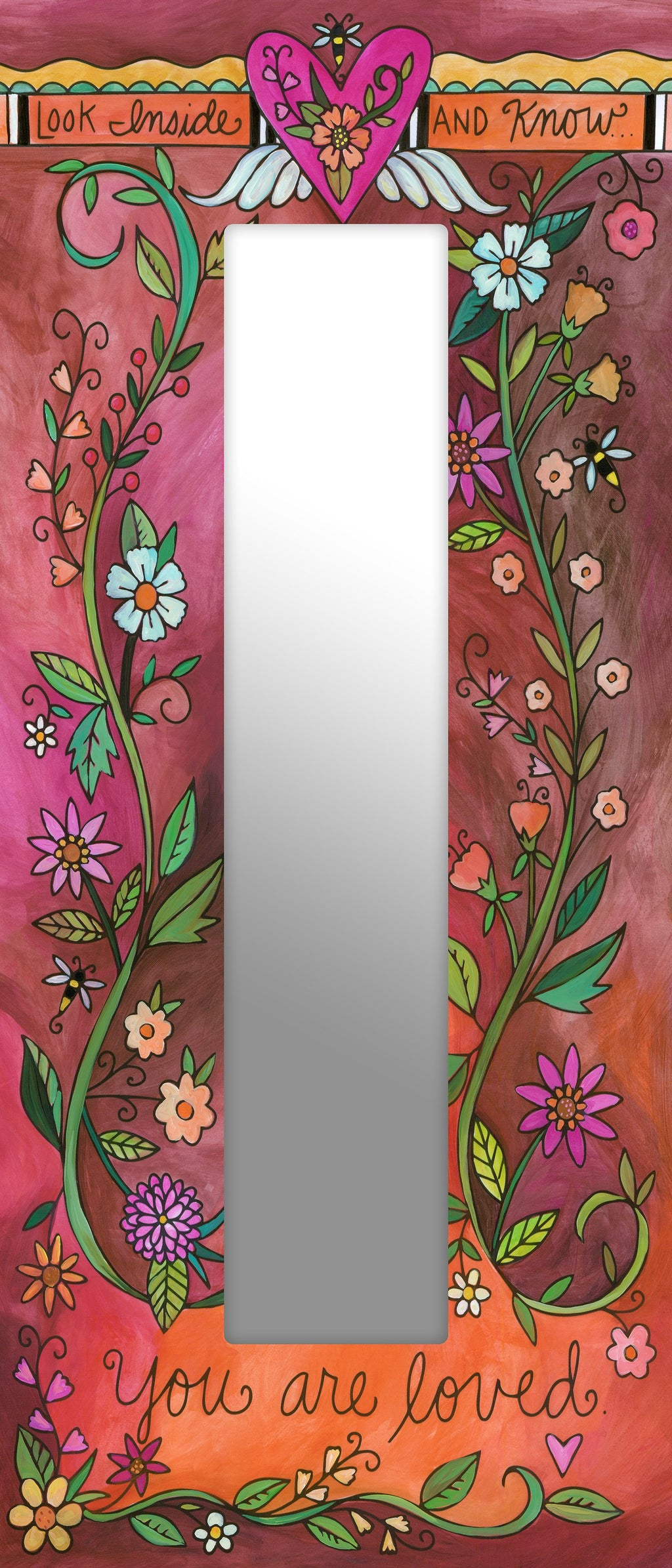 You are Loved Floral Artisan Mirror