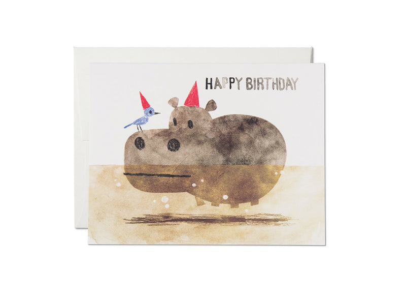 Hippo and Bird Birthday Card