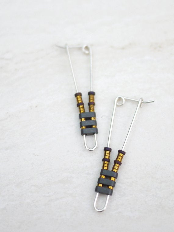 Silver and Hematite Modern Earrings