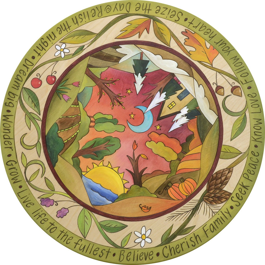 Seasonal Bliss Sincerely Sticks Printed Folk Art Lazy Susan