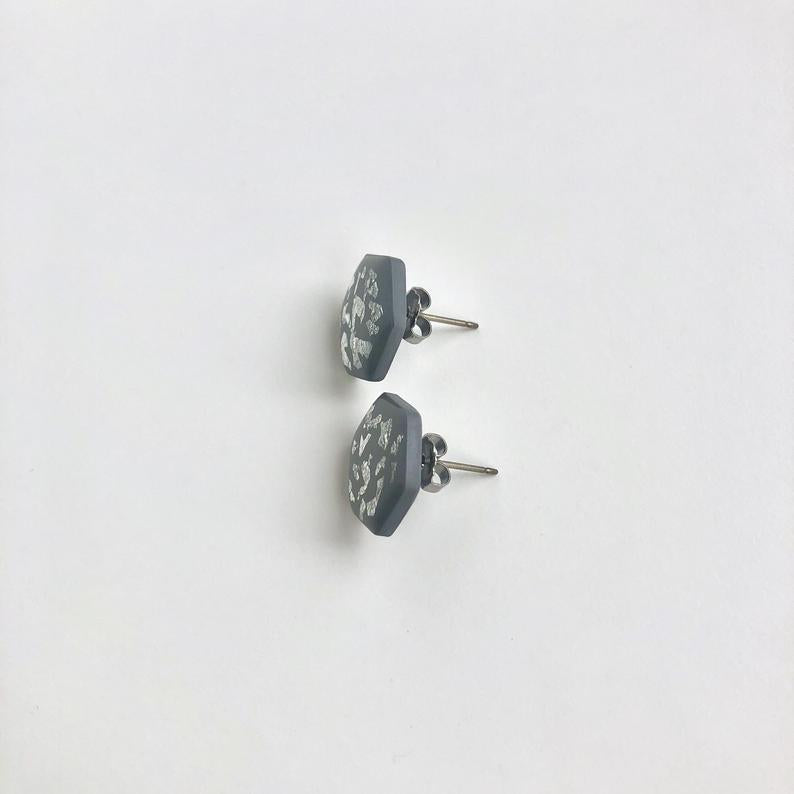 Grey & Silver Hexagon Studs