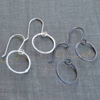 Small Metamorphosis Metals Silver Hoops in Bright and Oxidized
