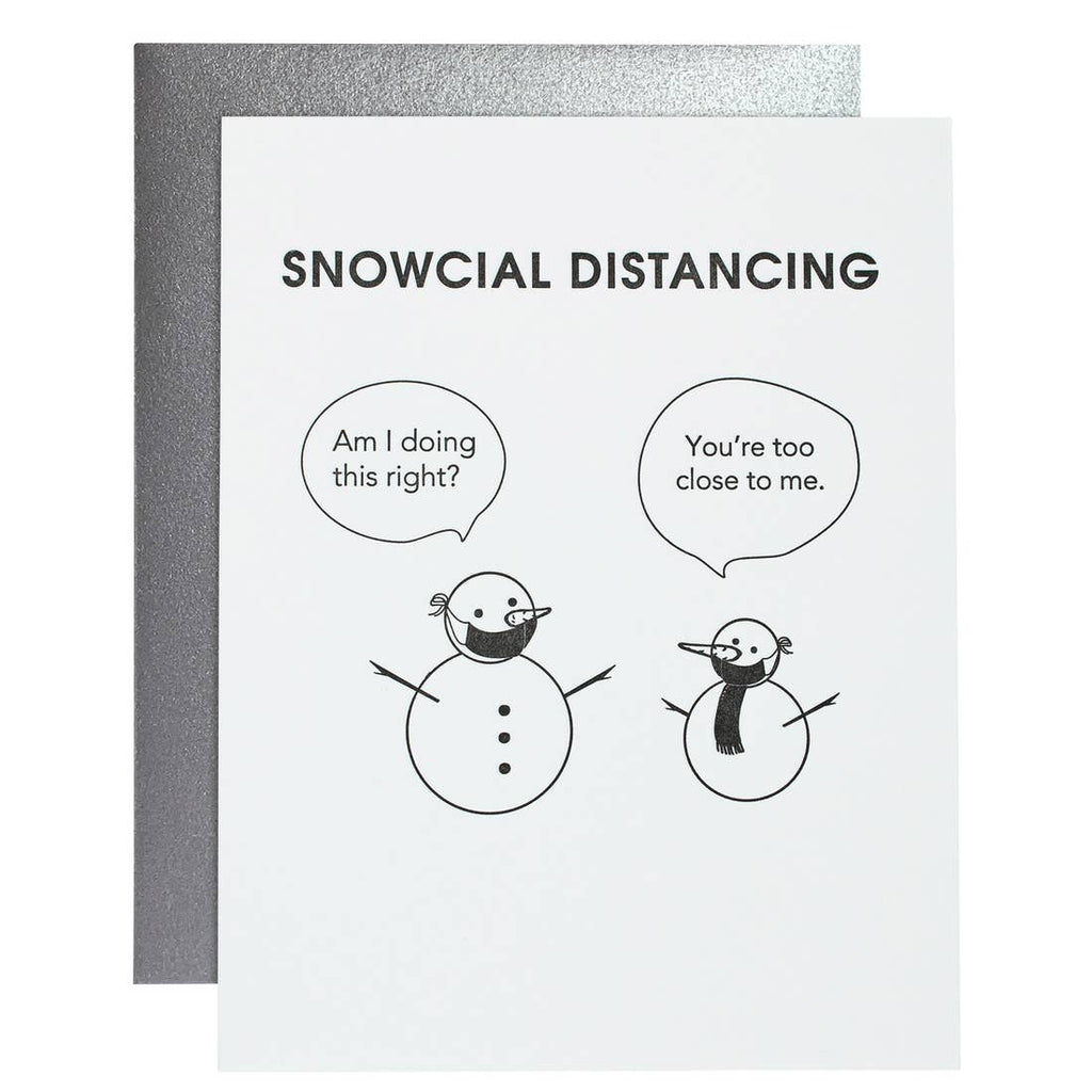 Snow-cial Distancing Letterpress Holiday Card