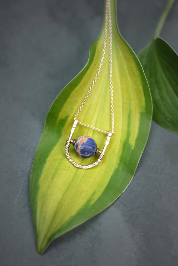 U Shaped Rose Gold Necklace With Sodalite Stone