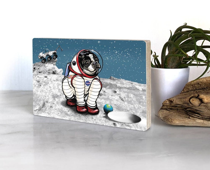 Astronaut Space Dog Wall Art on Wood