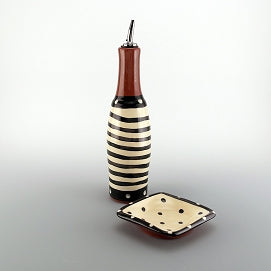 Spiral Oil Bottle & Dipping Dish