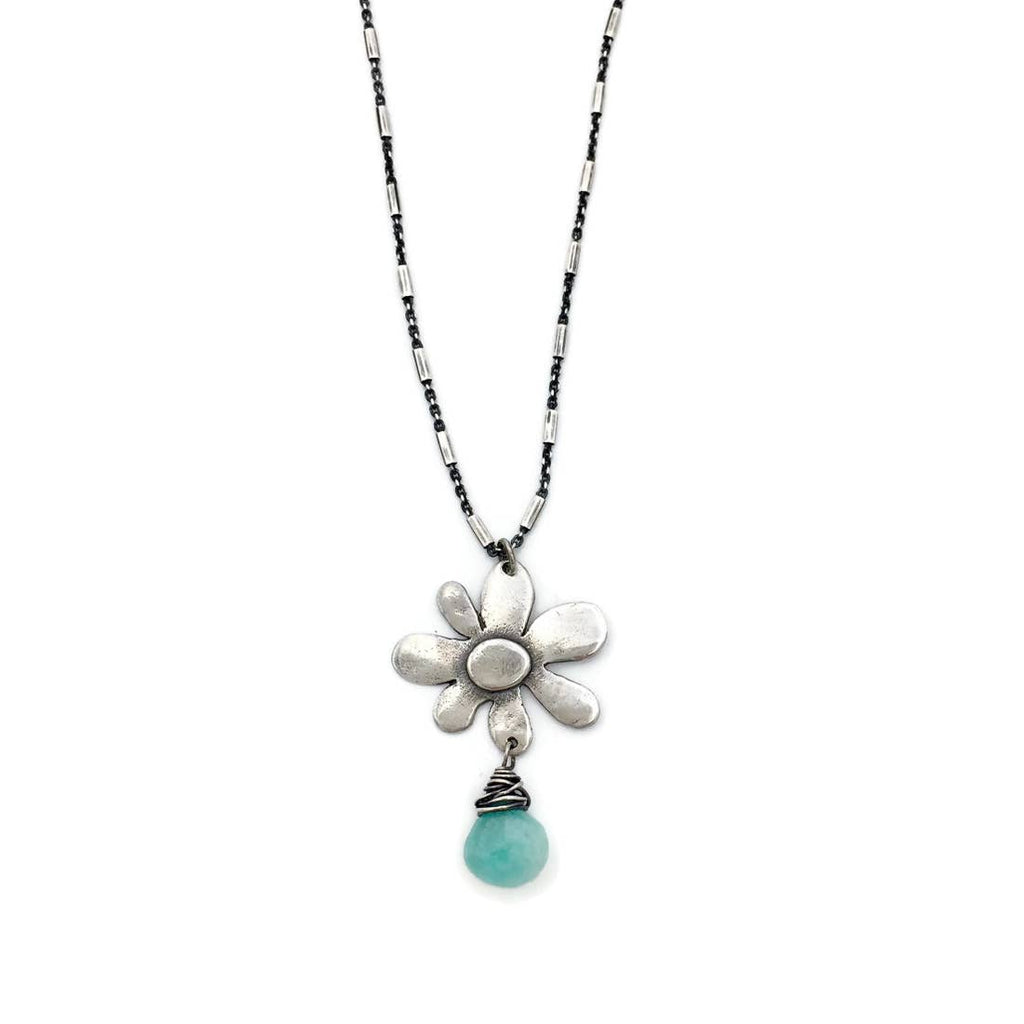 spring bloom silver necklace with a gemstone
