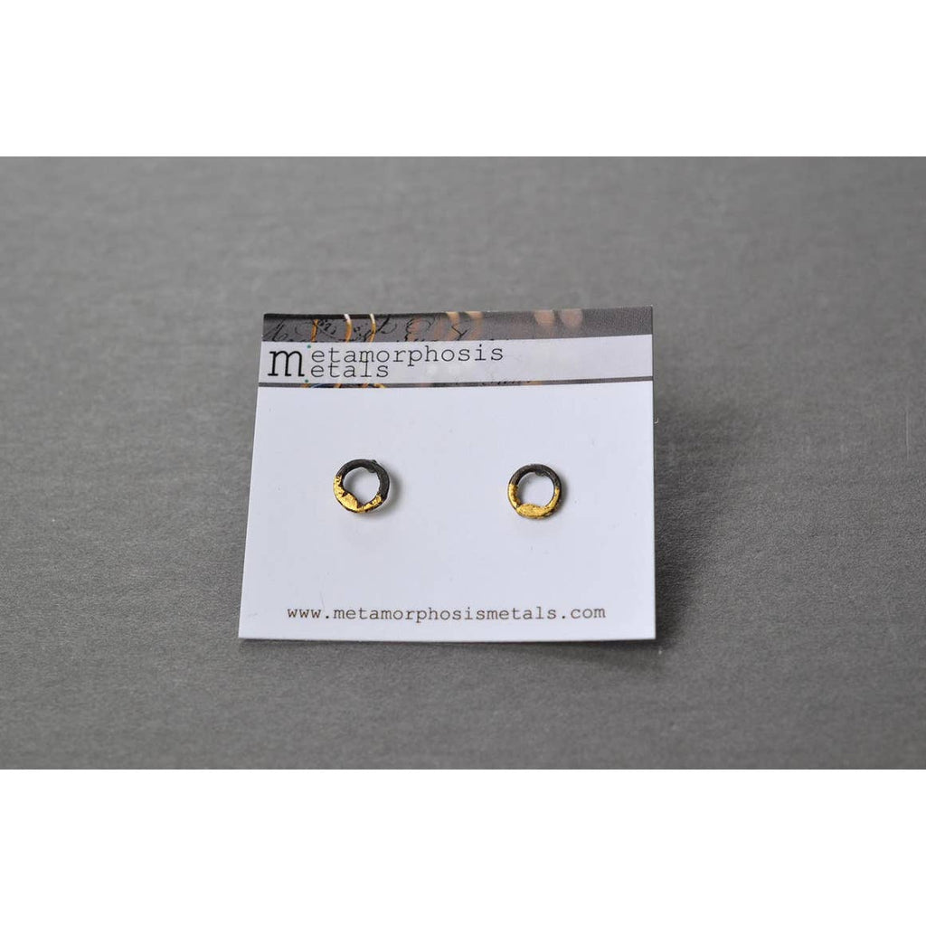 Steel and Gold Circle Studs