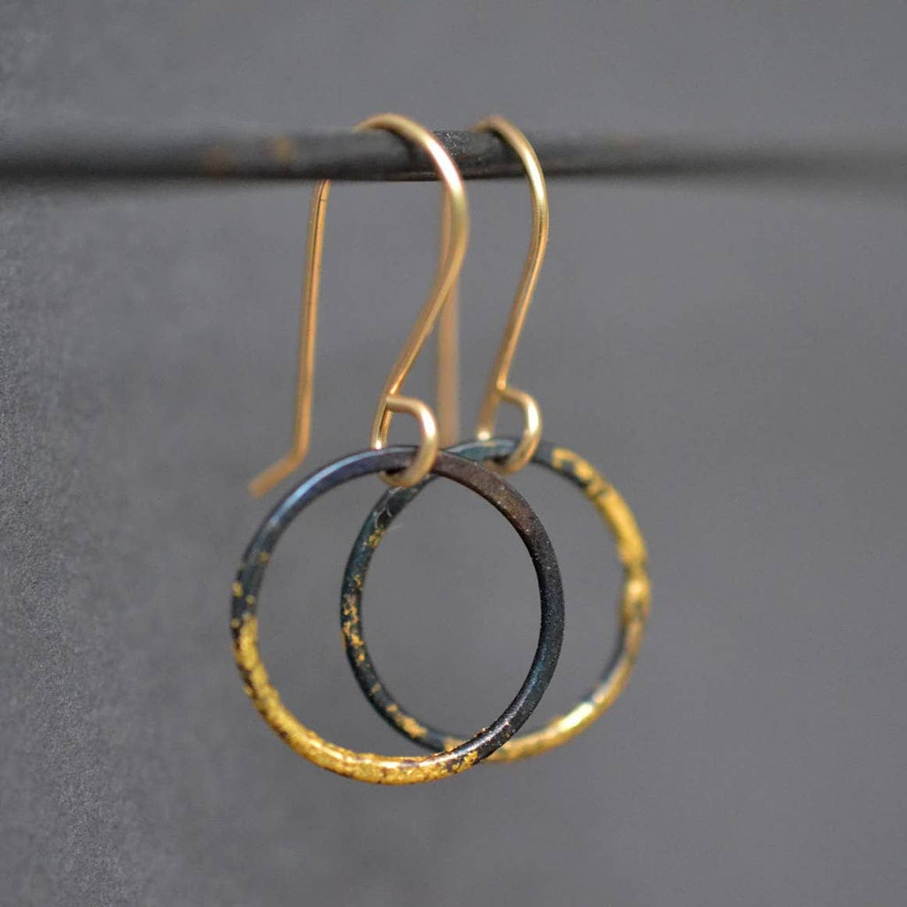 Small Steel and 23k Gold Hoops