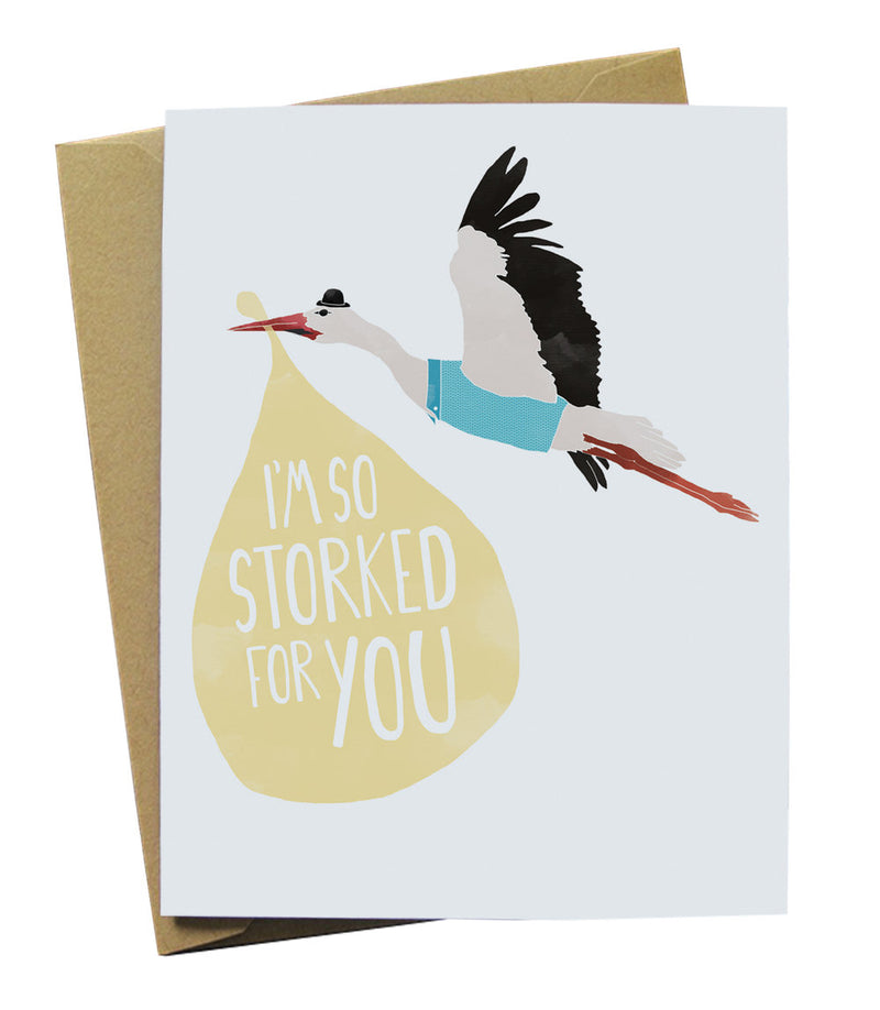 So Storked for You New Baby Card