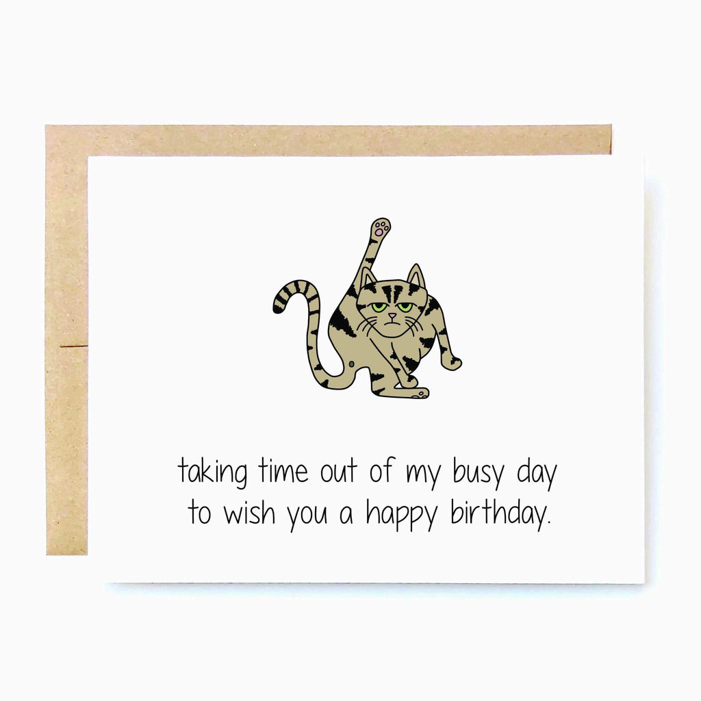 Taking Time Out Cat Birthday Card