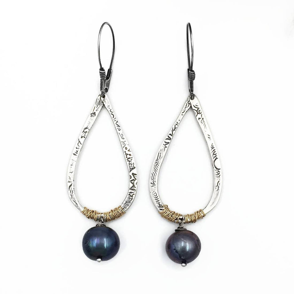 Teardrop Earrings with Gold Fill Wrap and Pearl