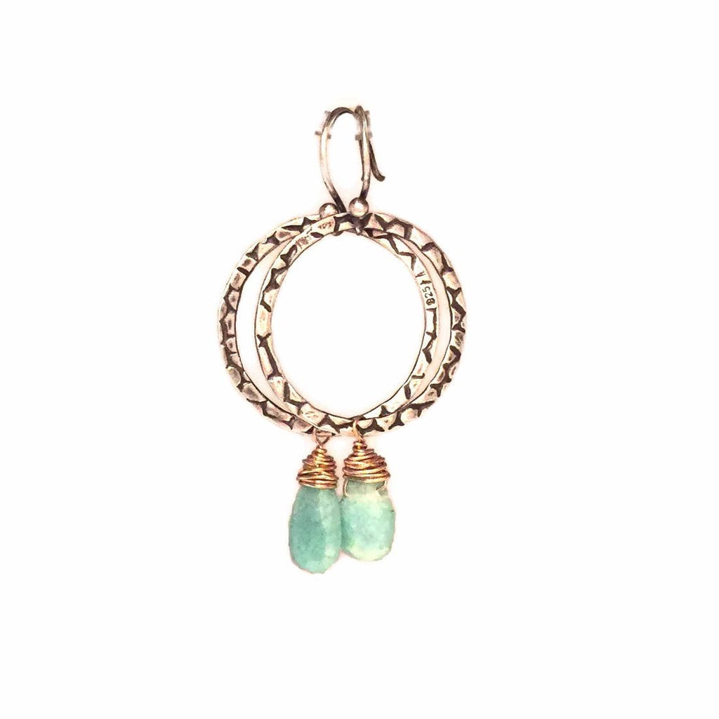 Textured Loop with Gold Fill and Semi-Precious Gemstone Earrings