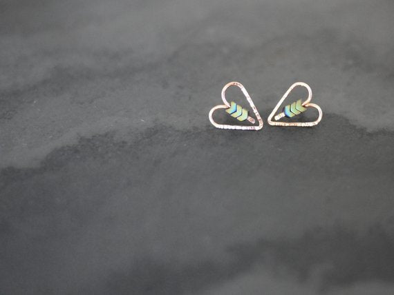 Rose Gold and Hematite Heart Earrings