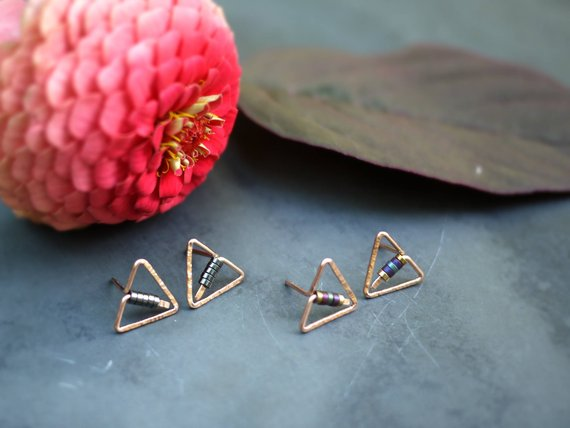 Tiny Triangle Post Earrings