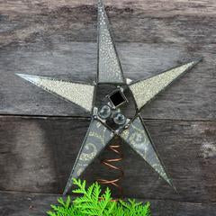 Adjustable Glass and Fabric Metallic Tree Topper Star