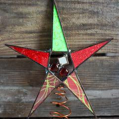 Christmas Red and Green Star Tree Topper
