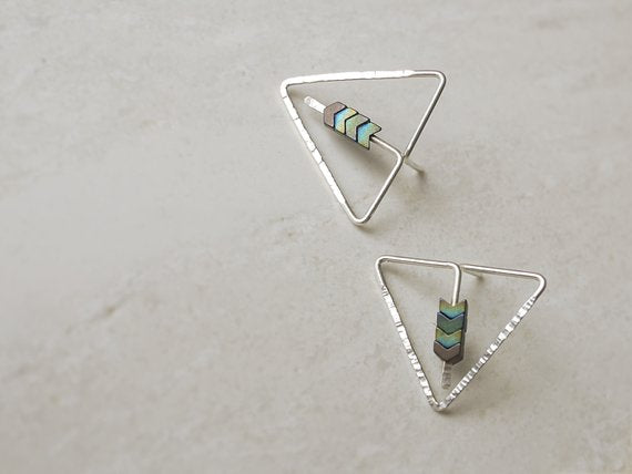Triangle Post Earrings With Chevron Hematite Beads