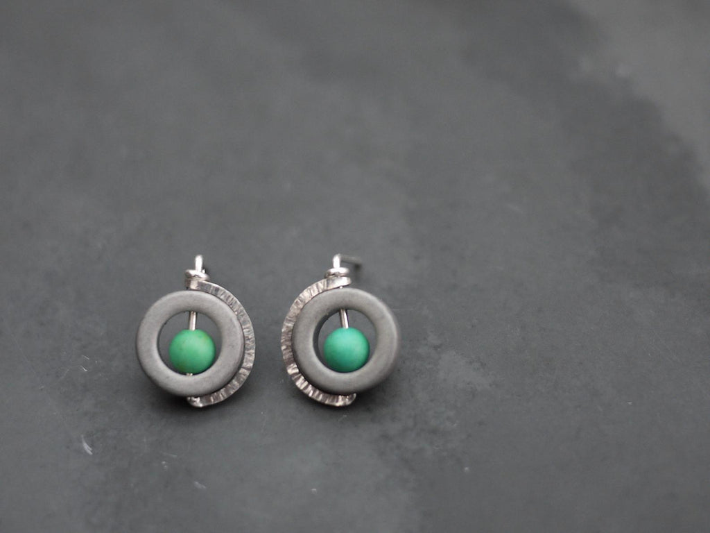 Post Earrings with Sterling SIlver Encircling a Hematite Donut with a Turquoise Center Bead