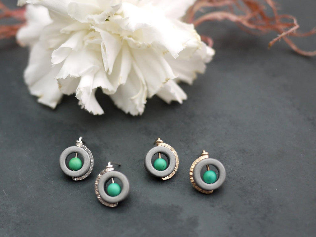 Two Metal Options for Hematite and Turquoise Stud Earrings
