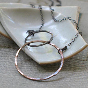 Two Toned Interlocked Circles Necklace by Metamorphosis Metals