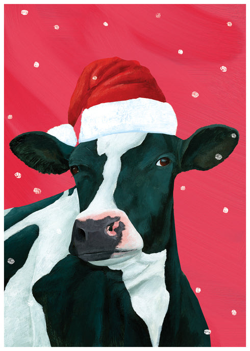 Udderly Fantastic Cow Art Christmas Card