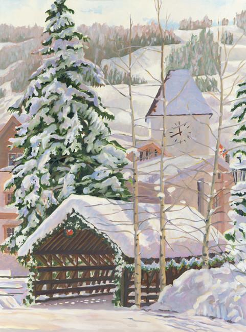 Snow Covered Bridge in Vail Card Replication of Barbara Froula's Painting