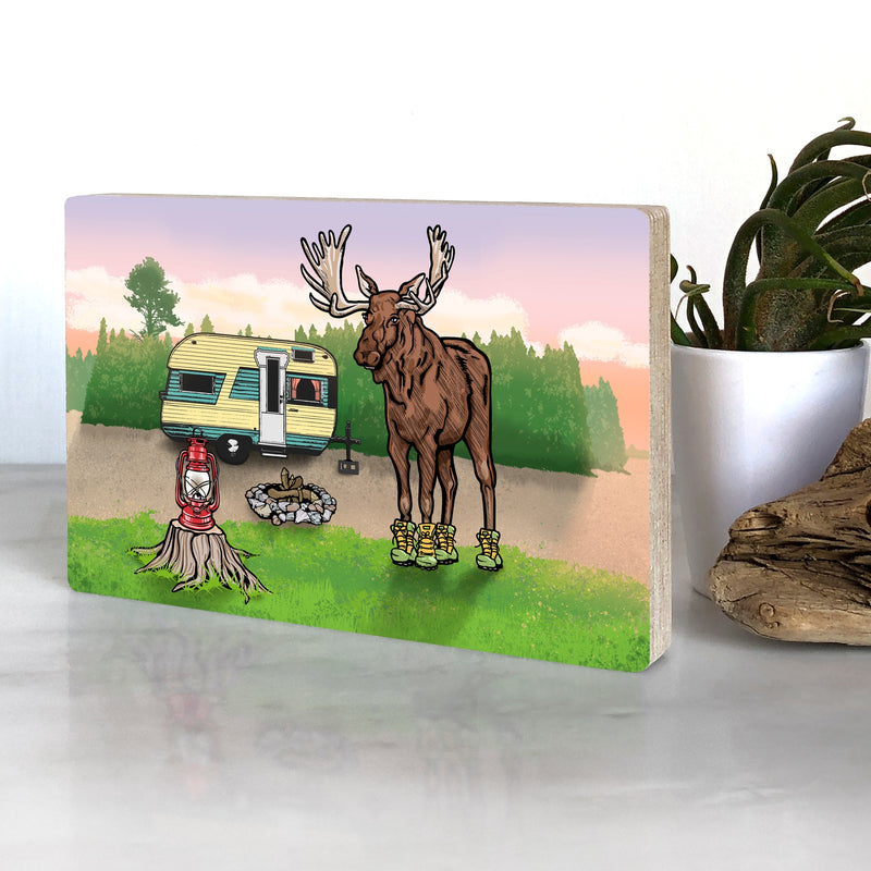 Camping Moose Art on Wood