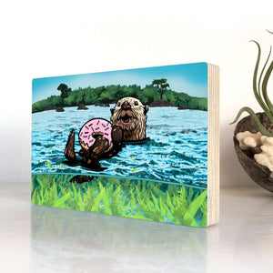 Sea Otter Art on Wood