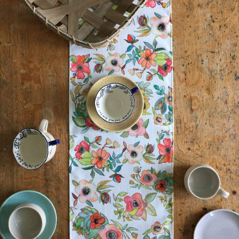 Floral Watercolor Table Runner
