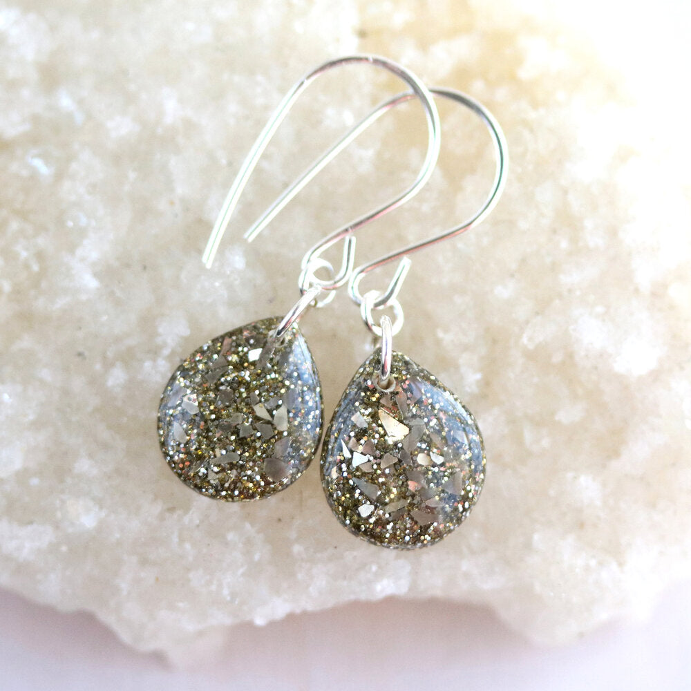 White Gold Glitter and Resin Teardrop Earrings with silver wires