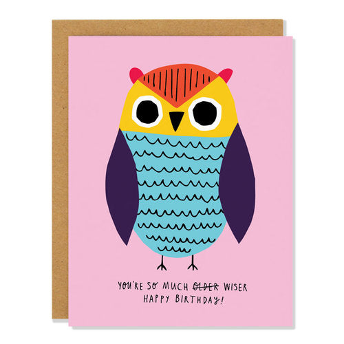 Birthday Card featuring a Wise Owl.