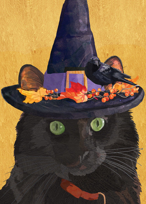 Halloween Witch Cat Card