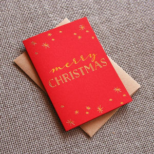 letterpress xmas sparkle merry christmas card